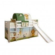 Kinderhochbett Trolion mit Rutsche und Vorhang im Safari Design