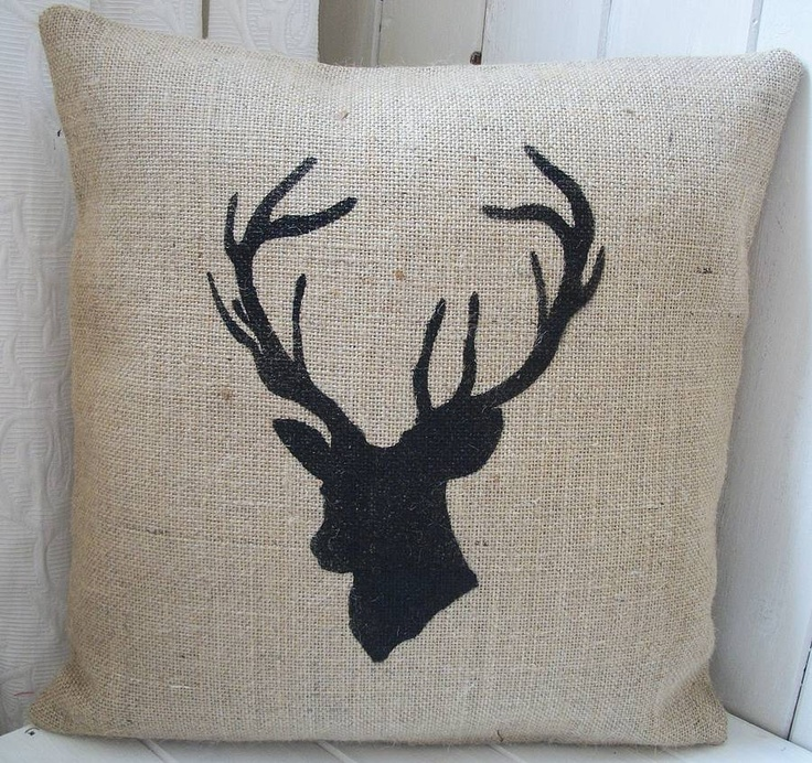 Stag's Head Hessian Cushion Cover  Rustic Country Crafts  notonthehighstreet