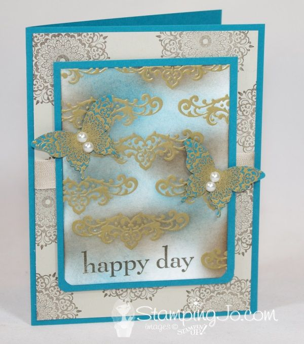 Fun with Stampin' Up! Sponges and the new Happy Day Stamp set- (full description and video on blog http://stampingjo.com/stampin-girls-gone-wild/fun-with-stampin-up-sponges/)