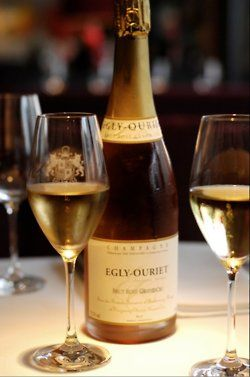 "Egly Ouriet Champagne- 100% vinification in barrique. Bottled in 2006 from the 2005 vintage. It is a vintage yet Egly chooses to not put this on the label. The fruit was sourced from a single vineyard known as ""Les Crayères"". The vines here were planted in 1946. It's an exceptional terroir: the soil is hardly 30 cm deep, then comes the chalk, hundreds of metres deep, hence the name of the site."