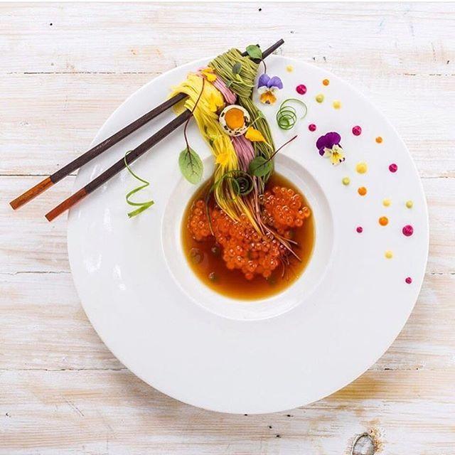Tricolour zaru soba with ikura, quail egg, scallion & edible flowers. ✅ By - @royalebrat ✅  #ChefsOFInstagram 🚨 www.ChefsOF.com 🚨