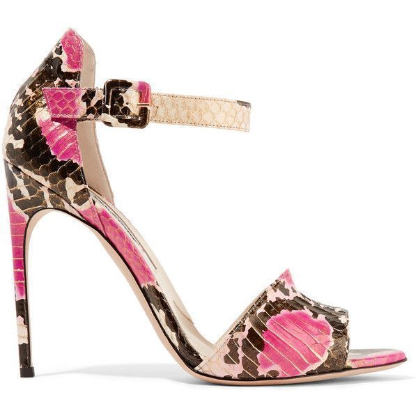 Brian Atwood - Elaphe Sandals ($383) ❤ liked on Polyvore featuring shoes, sandals, multi, high heel sandals, buckle shoes, multi colored high heel sandals, brian atwood shoes and ankle strap shoes #brianatwoodheelsanklestraps