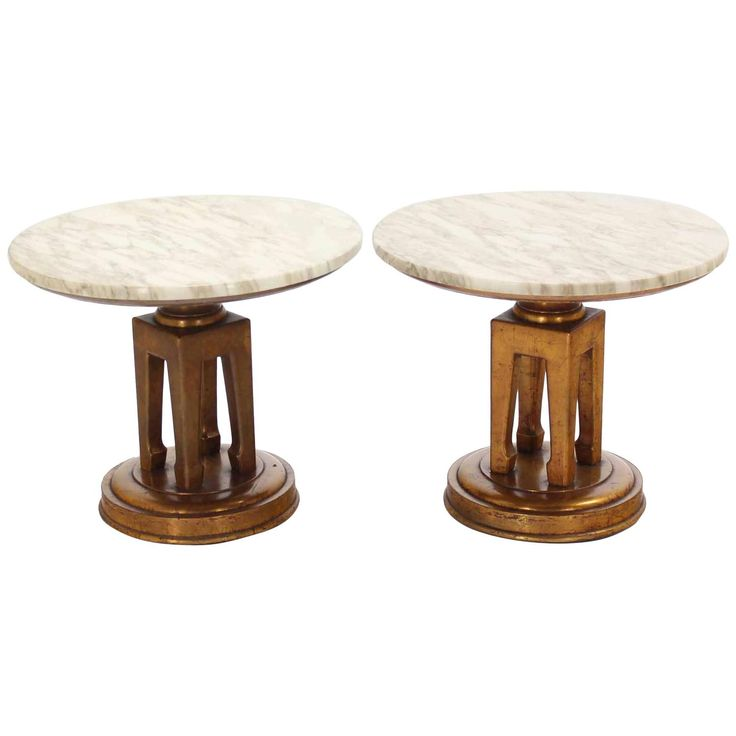 Pair of Very Nice Marble Top End Tables on Sculptural Bases | From a unique collection of antique and modern end tables at https://www.1stdibs.com/furniture/tables/end-tables/