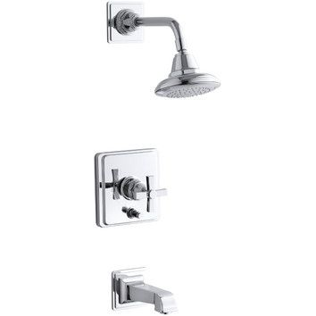 Kohler Kohler Pinstripe Pure Rite-Temp Pressure-Balancing Bath and Shower Faucet Trim with Cross Handle, Valve Not Included...