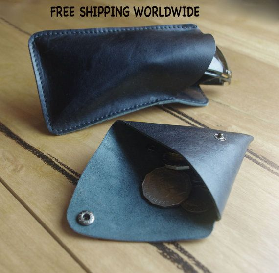 FREE SHIPPING. Black leather sunglasses case & coin pouch, gift idea, leather sunglass case, pouch for coins, Leather pouch, black pouch