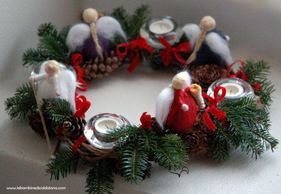 Ghirlanda dell'avvento, in lana fiaba, ispirazione Waldorf