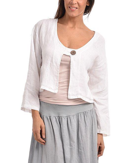 White Pocket Linen Bolero - Plus Too