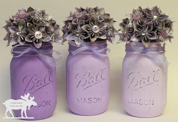 Purple Mason Jars-perfect for any country/shabby chic wedding!  #weddingflowers