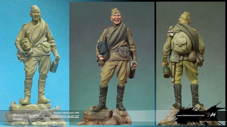 Russian infatryman. Clay modeling Modelado Saqueador ruso cabeza Adolf Hitler escultura 54mm. Pasta epoxi