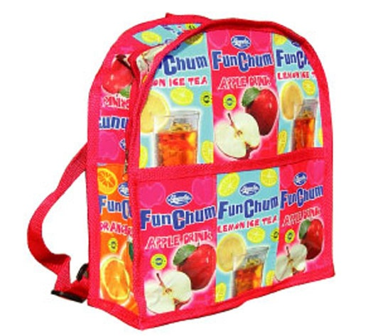 £13.00 Funky Fair Trade school back pack handmade in the Philippines from recycled juice cartons.   Find out more... http://www.thefairtradestore.co.uk/fair-trade-children-s-gifts/juice-recycled-school-back-pack/prod_226.html   #Fairtrade #Recycled #Children #Eco #Philippines