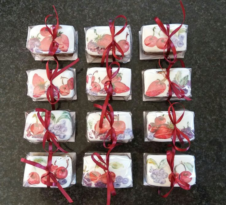 Hand-painted fruit cakes; handy little gifts.