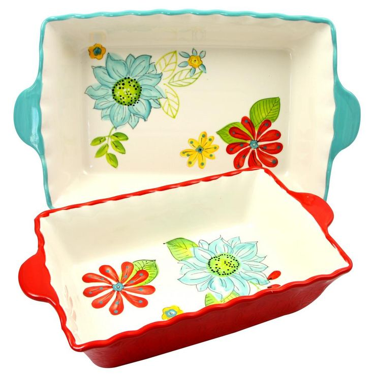 Daisie Collection 2-Piece Rectangular Stoneware Bakeware Set, Bleu/Red/Ivory/Green And Yellow Floral Pattern