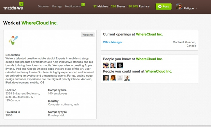 Market Your Employer Brand With matchFWD Company's page