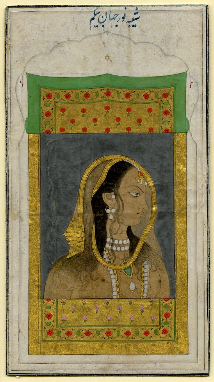 """mughalshit: """" Idealized Portrait of Nur Jahan India, Mughal, 18th century Opaque watercolors and gold on paper """""""