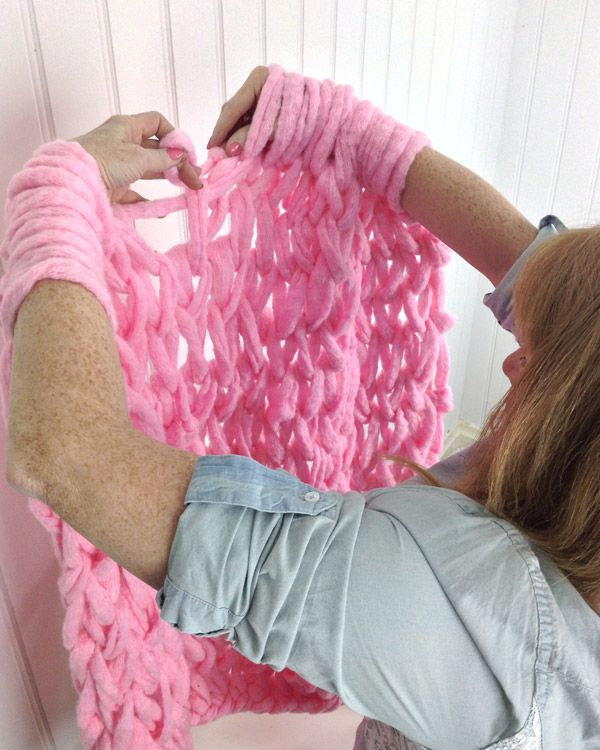 finger knitting blanket instructions