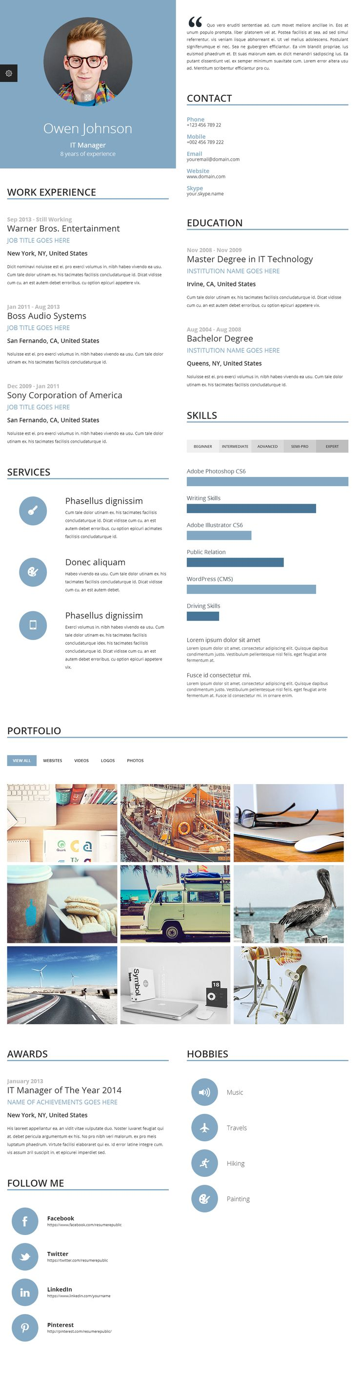 Proxima online resume template is unique online resume template because of its multi-column/news-paper, magazine style layout. Proxima online resume template allows resume content to be fitted into columns no matter how much data is entered into the resume or what is the screen resolution of the device in use. #jobsearch #careers #jobs #resume #resumetemplates #onlineresumes #CV #coverletter #templates #resumes