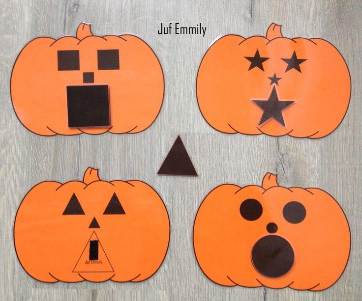 Pompoenen met verschillende vormen (cirkel, vierkant, ster en driehoek). Afgedrukt op oranje papier (Juf Emmily)