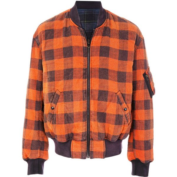 R13 checked bomber jacket (12,495 THB) ❤ liked on Polyvore featuring men's fashion, men's clothing, men's outerwear, men's jackets, multicolour, mens red bomber jacket, mens leather bomber jacket, mens checkered jacket, mens real leather jackets and mens leather flight jacket