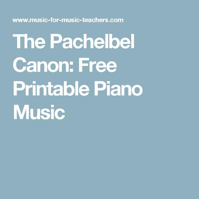 The Pachelbel Canon: Free Printable Piano Music
