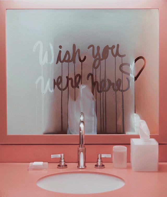pink + pretty | wish you were here bathroom mirror