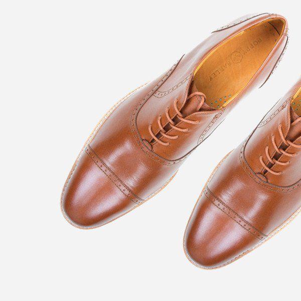 The Toronto Brogue - tan leather brogue mens custom dress shoes - Poppy Barley