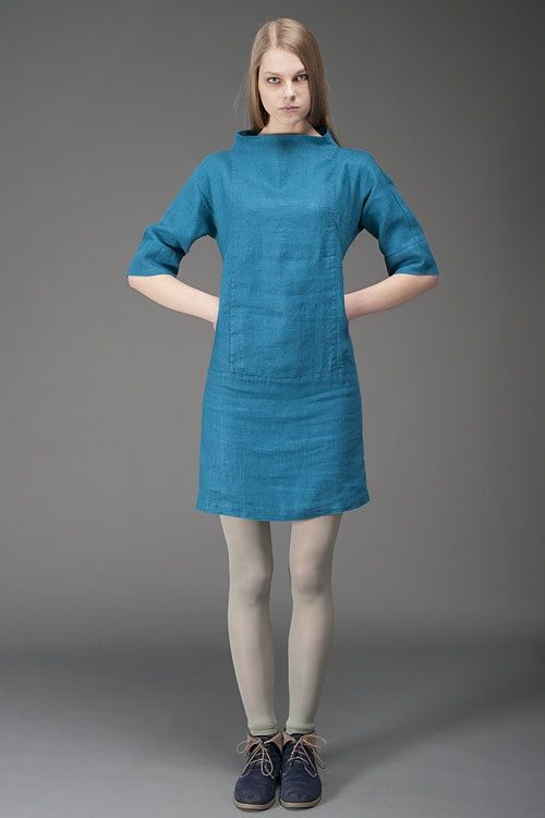 Pure Linen dress in greyish blue, above the knee blue linen dress, stand-up collar, washed linen  Greyish blue above-the-knee 100% linen dress with 3/4 sleeves and a straight over-sized stand-up collar. The fabric had been specially washed before making the dress, therefore it is not only much softer, but also shrink-resistant. Perfect for casual everyday wear in any season. Looks great when worn with various tights or leggings as well as on its own.   ❀ 100% Linen (flax) ❀ Softened…