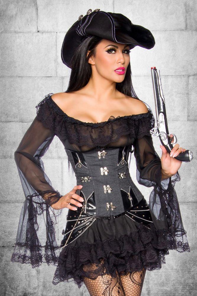 schönes Piratenkleid aus der myerotismo collection   - schönes Piratenkleid - einteiliges Kleid mit eingenähtem Volantrock - mit Spitze verziert - mit Carmenausschnitt -...