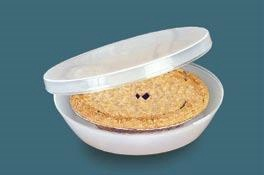 """Pie Keeper  Product #: AP13115  Price: $14.98        A baker's best friend! See-through, crush-proof container snaps tight to keep your creations fresh. Holds 9""""-diameter pie in its baking dish, and deep design (3-1/2""""H) easily accommodates cream pies and meringues. Flat top allows for stacking. Dishwasher safe plastic. (11-1/2""""Diam.)  http://katherinel.shopregal.ca"""
