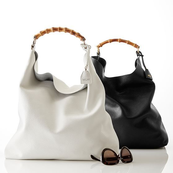 Bamboo Handle Hobo in White or Black | Mark and Graham