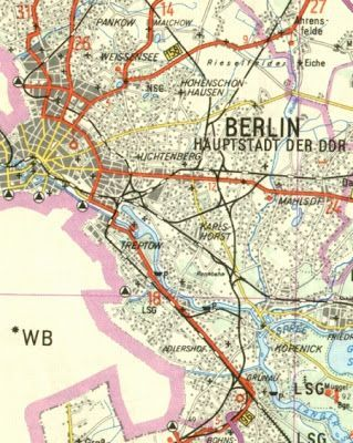"""""""Berlin, capital of the GDR"""". West-Berlin's a big blank space on this 1965 map.:"""