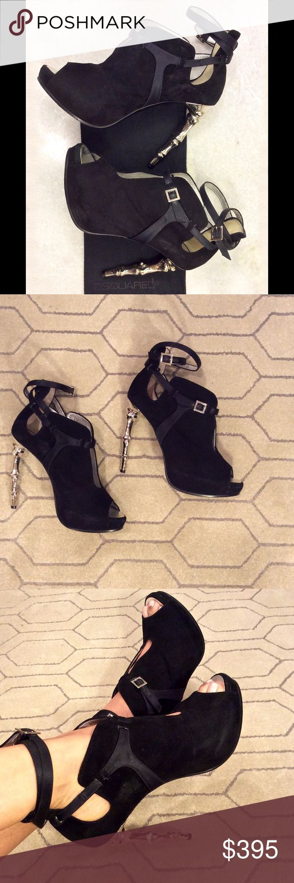 DSQUARED2 Ribcage Suede Ankle Bootie SUMMER SALE!!! 🎉🎉🎉 Stunning, black suede and leather strappy ankle booties with silver rib cage heels. Built-in platform approx. 3/4 inches, heels 4.5 inches. Straps adjusts at ankles and middle for comfortable fit. Size 39,made in Italy, B014 V10220. I purchased these in Milan, only wore a few times. Awesome condition! Dust bag included. VERY RARE! Dsquared2 Shoes Ankle Boots & Booties