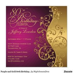 Purple and Gold 80th Birthday Party Invitation                                                                                                                                                                                 More