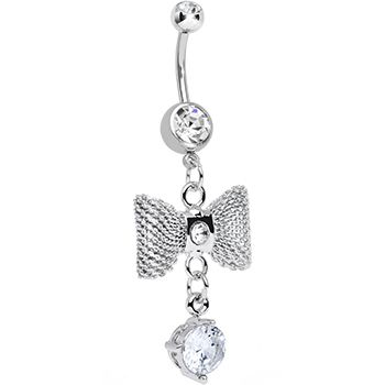 Clear Gem Going to a Formal Silver Bow Tie Dangle Belly Ring | Body Candy Body Jewelry #bodycandy #piercings #bellyring