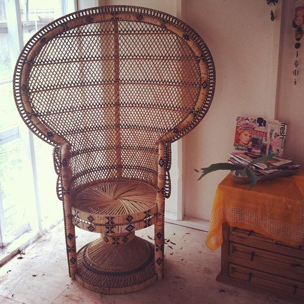 Marvelous 1970u0027s Style Wicker Chair.