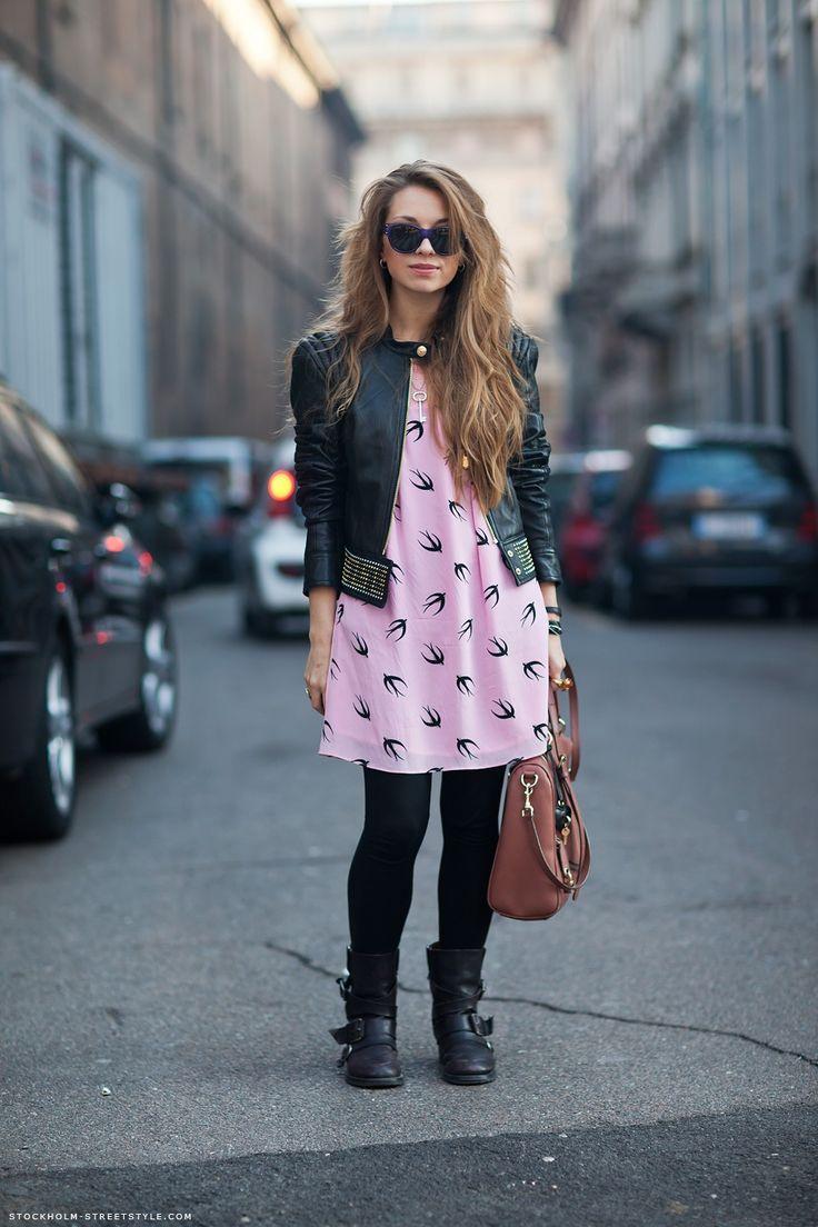 Carolines Mode   StockholmStreetStyleStreet Fashion, Birds Prints, Street Style, Fashion Hair, Birds Pattern, Leather Jackets, The Dresses, Black