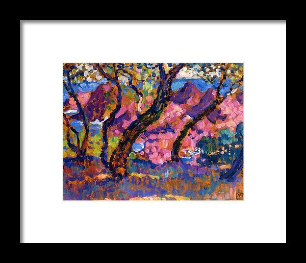 In Framed Print featuring the painting In The Shade Of The Pines Study 1905 by Rysselberghe Theo van