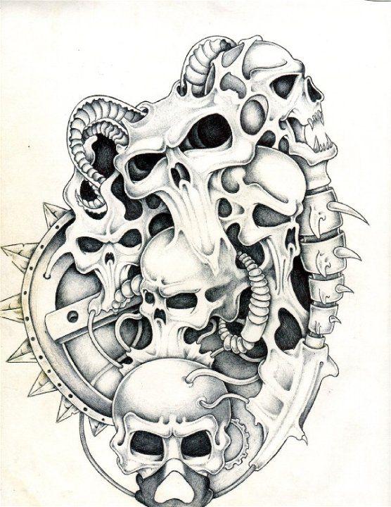 Skull Line Drawing Tattoo : Biomech skulls pinterest