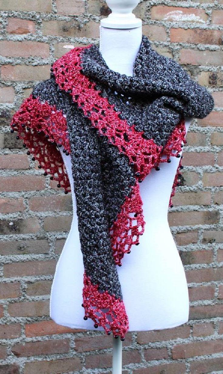 715 best Crochet/Scarves images on Pinterest   Bead crochet, Beaded ...