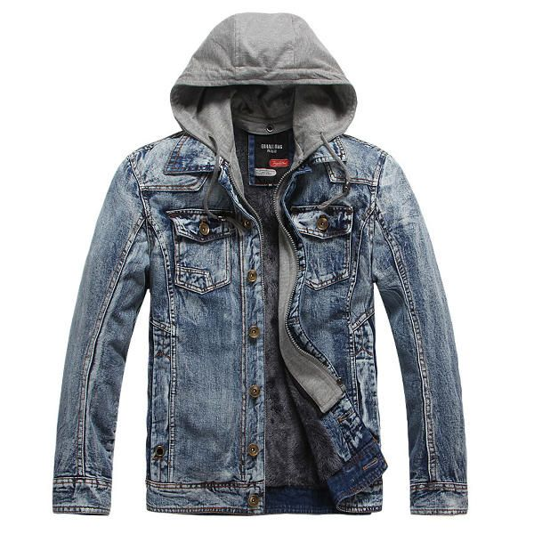 Fleece Thick Warm Detachable Hooded Casual Denim Jackets for Men
