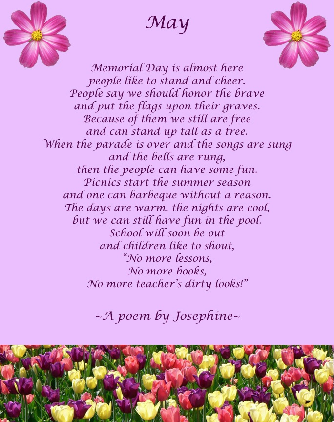 "Another poem titled ""May"" written by Josephine (who is turning 100 in a few short weeks!), one of our mastectomy survivors."