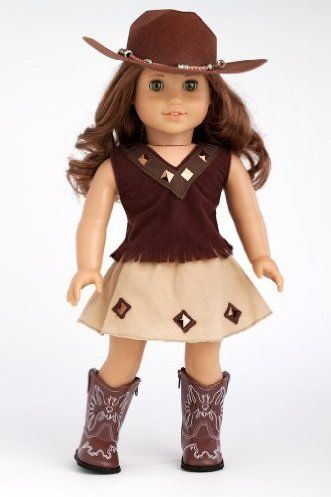 DreamWorld Collections Cowgirl - 4 piece outfit includes cowgirl hat, skirt, top and cowgirl boots - American Girl Doll Clothes : Casual Doll Outfits