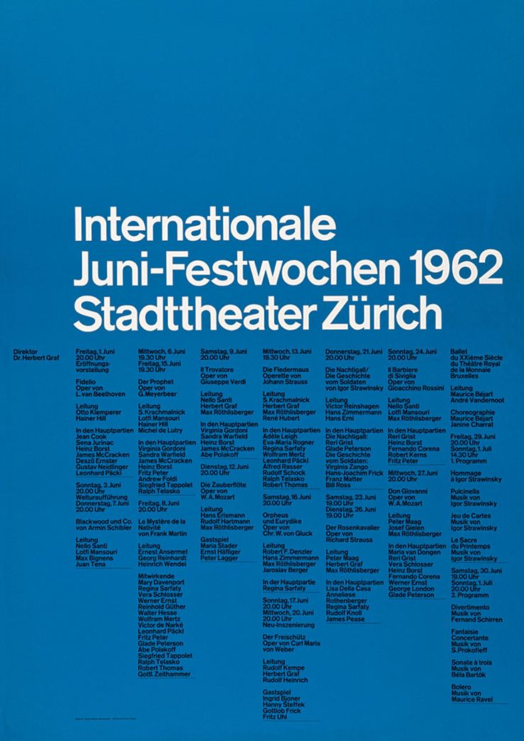 Josef Müller-Brockmann, 1914 - 1996, Graphiste et créateur de caractères suisse.