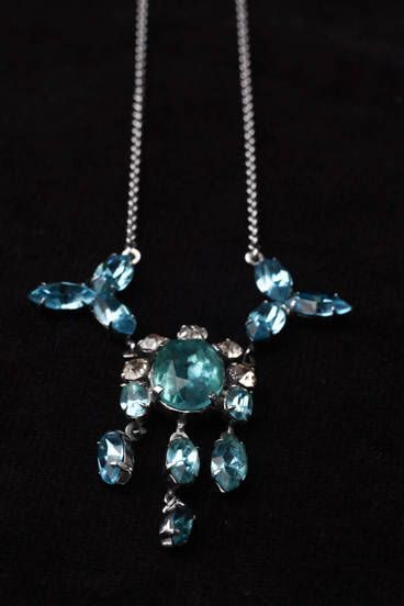 Excited to share the latest addition to my #etsy shop: Aquamarine Necklace, Blue Crystal Necklace, Vintage Rhinestone Necklace, Aquamarine Paste Necklace, Paste Necklace, Rhinestone Necklace #jewellery #necklace #blue #birthday #christmas #women #artdeco #bridalnecklace