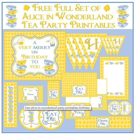Free Alice in Wonderland Tea Party Printables (fonts and other things on the website)
