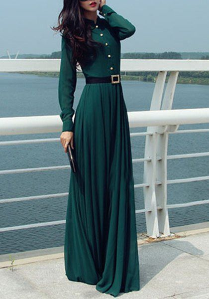 Elegant Stand-Up Collar Long Sleeve Blackish Green Maxi Dress For Women