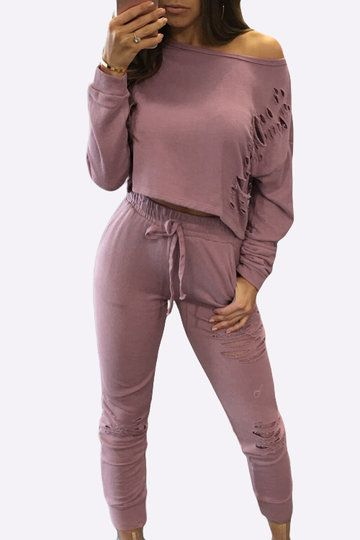 Pink Sexy Co-ords with Hollow Details - US$21.95 -YOINS