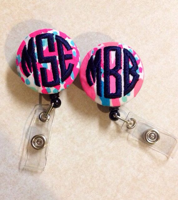 Lilly Pulitzer monogrammed badge reel by monogramsbytif on Etsy