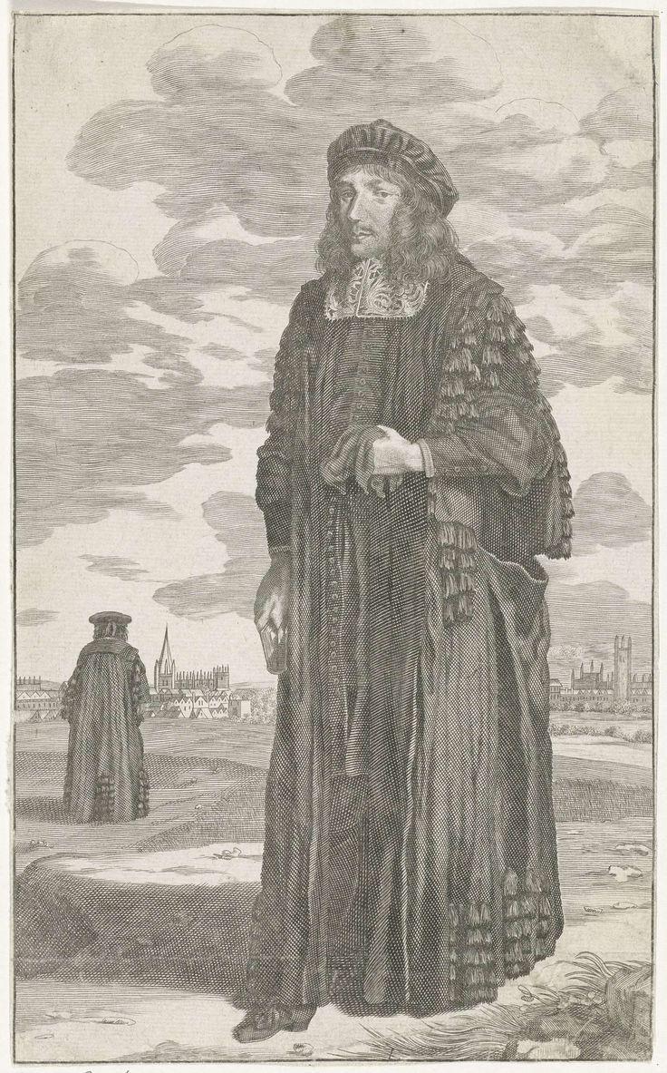 David Loggan | Doctor in de geneeskunde, David Loggan, 1643 - 1692 | Een onbekende doctor in de geneeskunde aan de Universiteit van Oxford, gekleed in een toga. In zijn handen een boek en handschoenen. Op de achtergrond dezelfde man op de rug gezien, in de verte contouren van een stad.