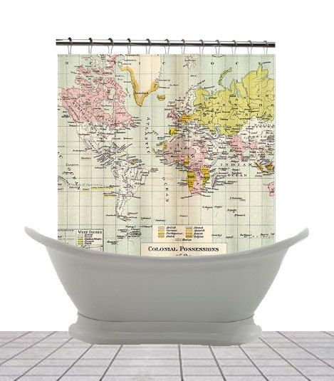 World Map Shower Curtain   Vintage Colonial Map   Home Decor   Bathroom    Aged Maps, Travel Decor
