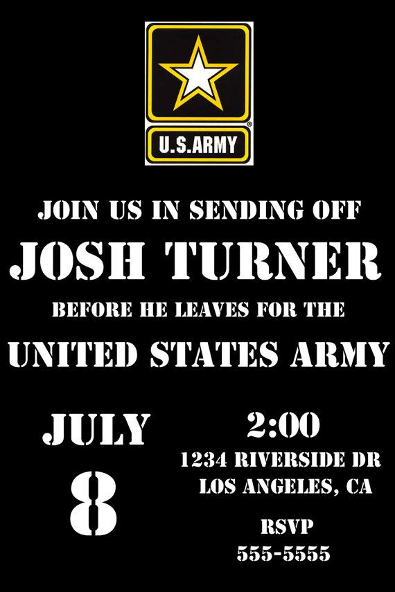 U.S. Army Send Off party invite. digital file. deployment party, leaving for basic training etc